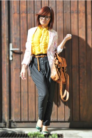 yellow blouse - green shoes - white blazer - brown bag - black pants