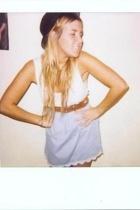Topshop skirt - Zara belt - H&M t-shirt - Ebay hat