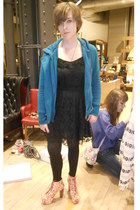 black lace divided H&M Trend dress - teal fur hood light Roxy coat