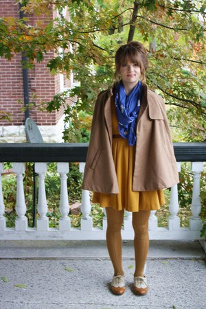 Forever 21 flats - mustrd H&M dress - gold Anthropologie tights