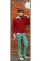 green Zara jeans - blue Topman shirt - red sweater - gold shoes