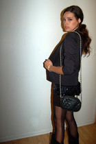 slv blazer - vintage blouse - Chanel purse - f21 tights