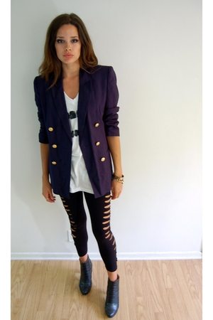 Worthington blazer - DIY t-shirt - f21diy leggings - boots