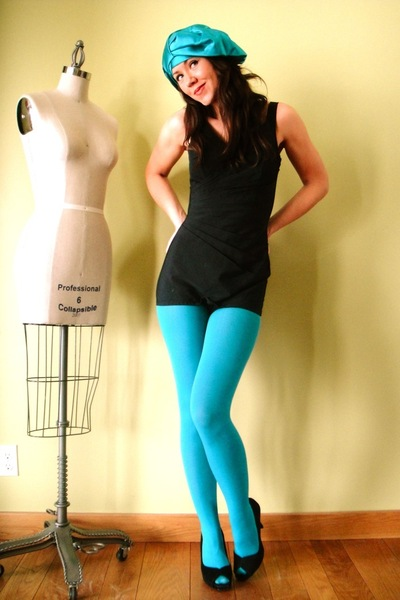 blue welovecolorscom tights - black vintage swimwear