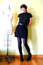 black vintage dress - black Target boots - black tights