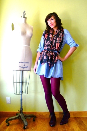 red tights - red lace up vintage boots - blue shirt American Apparel dress