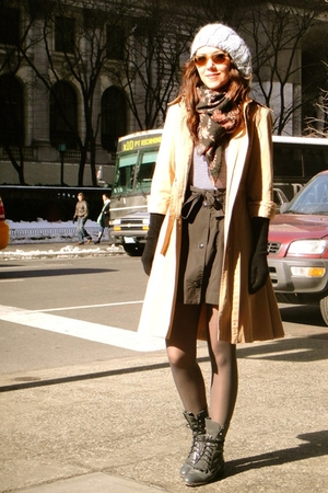 yellow vintage coat - gray Justin boots - gray H&amp;M skirt
