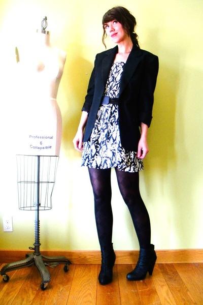black vintage blazer - black Target boots - white vintage dress