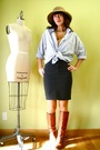 Gray-american-apparel-skirt-orange-miss-sixty-boots-gold-clydes-rebirth-acce
