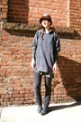 Gray-h-m-shirt-gray-vintage-dress-brown-vintage-hat-gray-bdg-pants-gray-