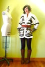White-vintage-cardigan-black-target-leggings-brown-vintage-boots