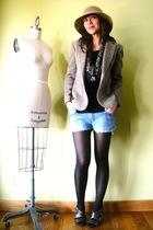 brown vintage jacket - gray Frye shoes - yellow vintage hat