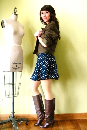 blue vintage dress - brown vintage boots - green vintage coat - gold American Ap