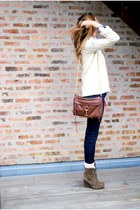 J Brand jeans - Zara socks - Zara boots - Gap sweater - JCrew shirt - Rebecca Mi
