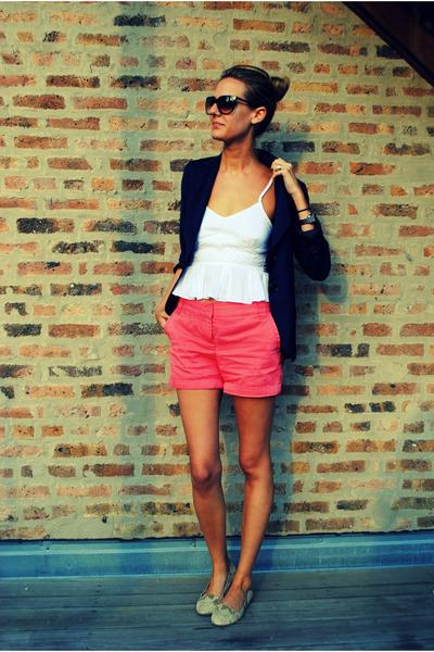 navy Trina Turk blazer - salmon JCrew shorts - white MinkPink top
