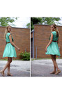 Turquoise-blue-thrifted-dress-tawny-leather-chloe-bag-burnt-orange-leather-t