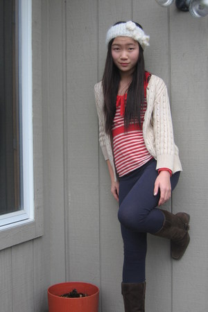 cable knit tan Eddie Bauer cardigan - delias boots - red striped XXI sweater
