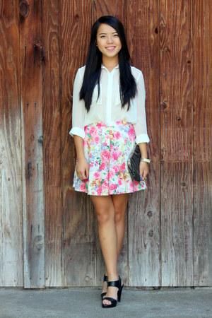 bubble gum floral print skirt - black shoes - black bag