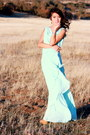 light blue chiffon DIY dress - camel Ebay heels