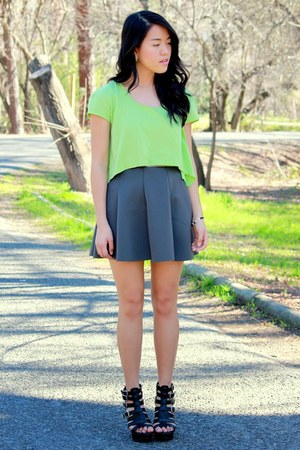 chartreuse neon crop top Ebay top - gray circle Forever 21 skirt