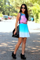 sky blue skirt - light purple top - black wedges