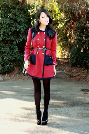 red pea coat Forever 21 coat - black opaque H&M tights - black Ebay heels