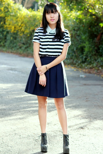 black stripes Forever 21 top - light blue pearls collar thrifted dress