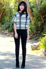 white boxy stripes Iris Los Angeles top - black high waisted Wet Seal pants
