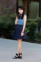 blue denim thrifted dress - black woven Forever 21 hat