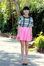 white crop top Ross blouse - hot pink cirlce clothing revival skirt