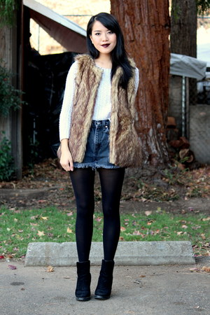 brown faux fur Wet Seal vest - ivory knitted JCPenney sweater
