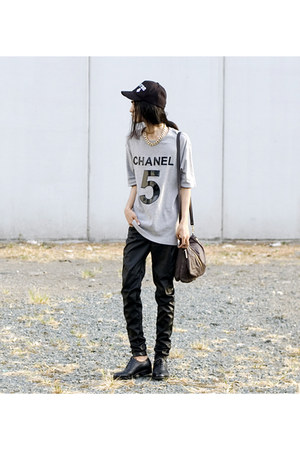 mark r shoes - sm accessories hat - heather gray custom made shirt - Kipling bag