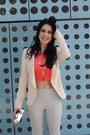 Peach-zara-blazer-gold-clutch-zara-bag-carrot-orange-crop-top-zara-top