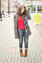 Element jacket - Vintage crown boots - Forever 21 jeans - Lace Affair sweater