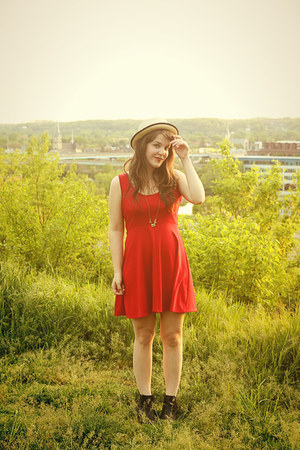 black Old Navy boots - red tailor and stylist dress - neutral Forever 21 hat