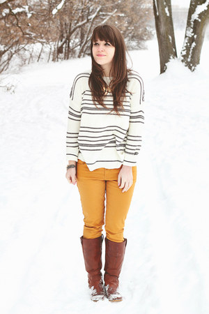 white Forever21 sweater - tawny Wanted boots - mustard Target jeans