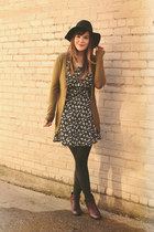 black modcloth dress - purple wolverine 1000 mile boots - black Moorea Seal hat