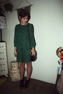 Green-h-m-dress-black-purse-black-steve-madden-shoes