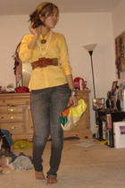 H&M blouse - Wet Seal belt - Apple Bottoms jeans - forever 21 purse
