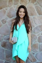 aquamarine ruffled trapeze Charlotte Russe dress