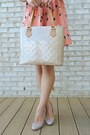 Light-orange-pleated-print-oasap-dress-beige-tote-louis-vuitton-bag