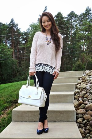 tan Charlotte Russe sweater - navy skinny Articles of Society jeans