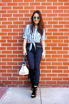 sky blue tie crop top The Skandl top - navy Almost Famous jeans