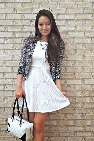 white textured skater Charlotte Russe dress - black round toe Candies shoes