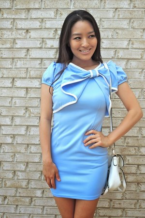 sky blue bow YRB Fashion dress - white LucyMint bag