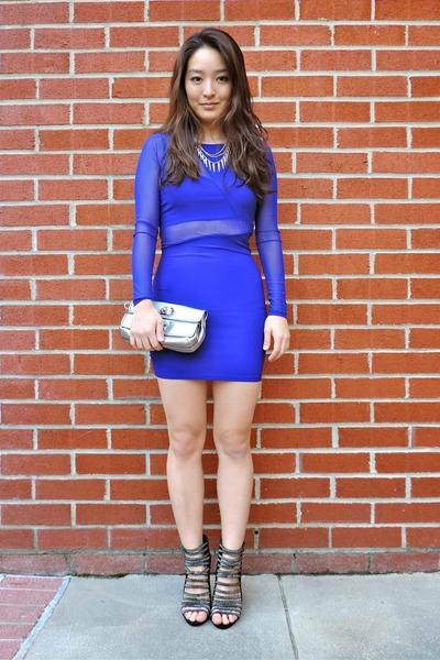 blue Charlotte Russe dress - silver Deb Shops shoes - silver clutch coach bag