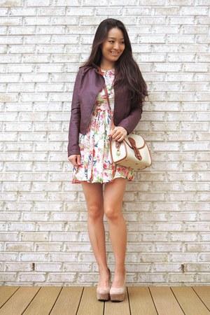 maroon Aeropostale jacket - pink floral chiffon others follow dress