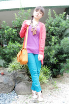 orange satchel bag - red Forever 21 cardigan - amethyst baleno top