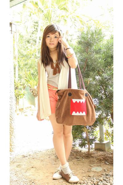 brown domo-kun bag - brown AsianVogue shoes - silver BNY shirt