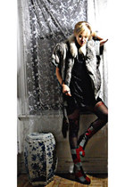 brick red colorblock Jeffrey Campbell boots - black velvet vintage dress